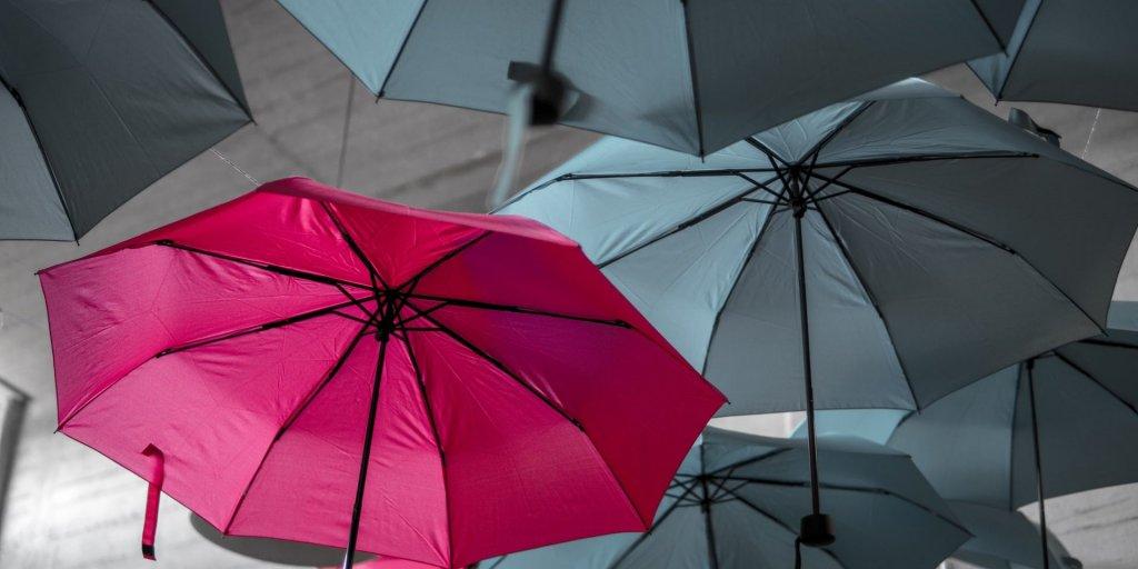 Grey and pink umbrellas