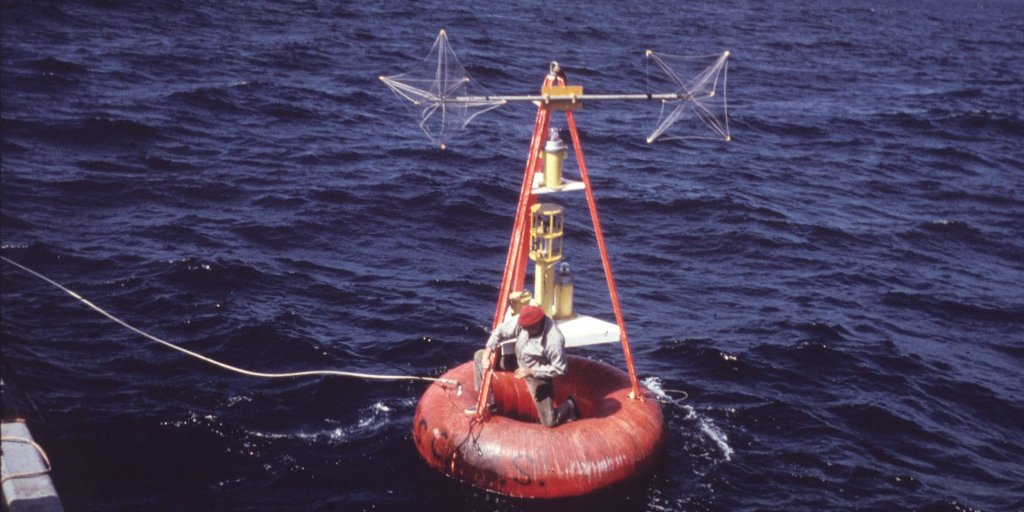 Buoy outfitted for measuring geomagnetic parameters.