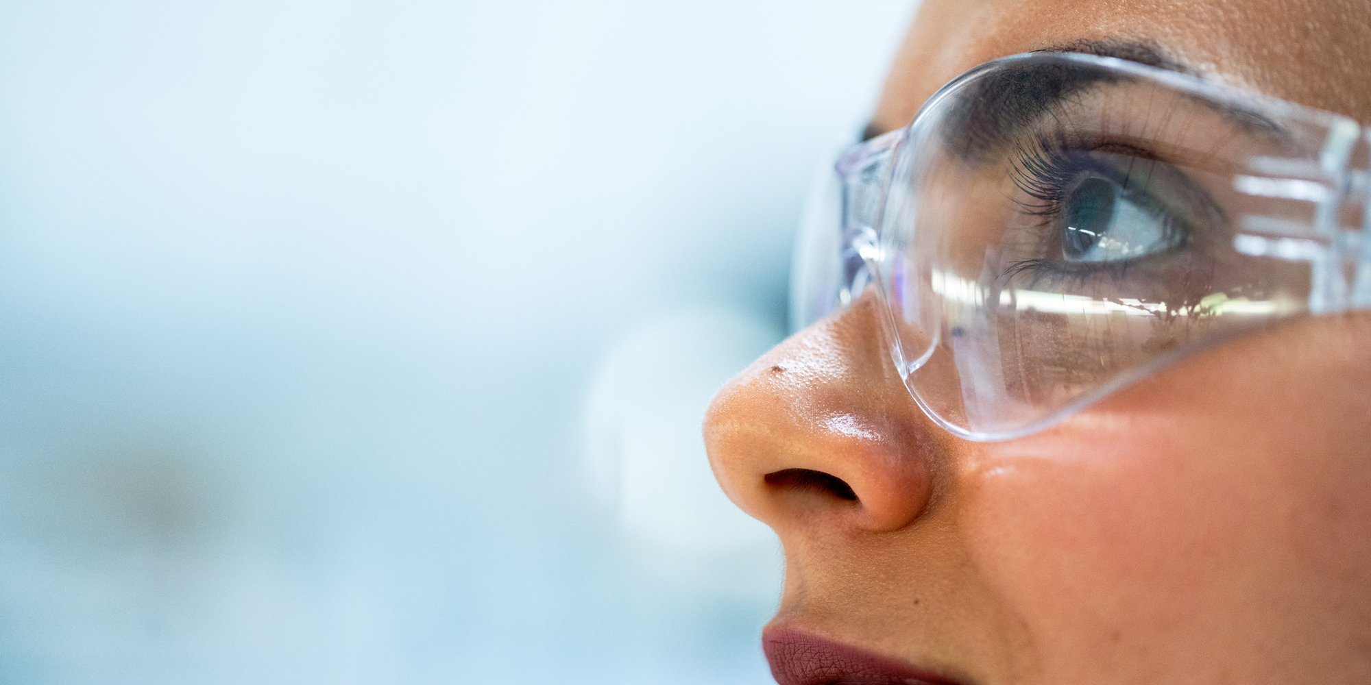 Woman in safety goggles