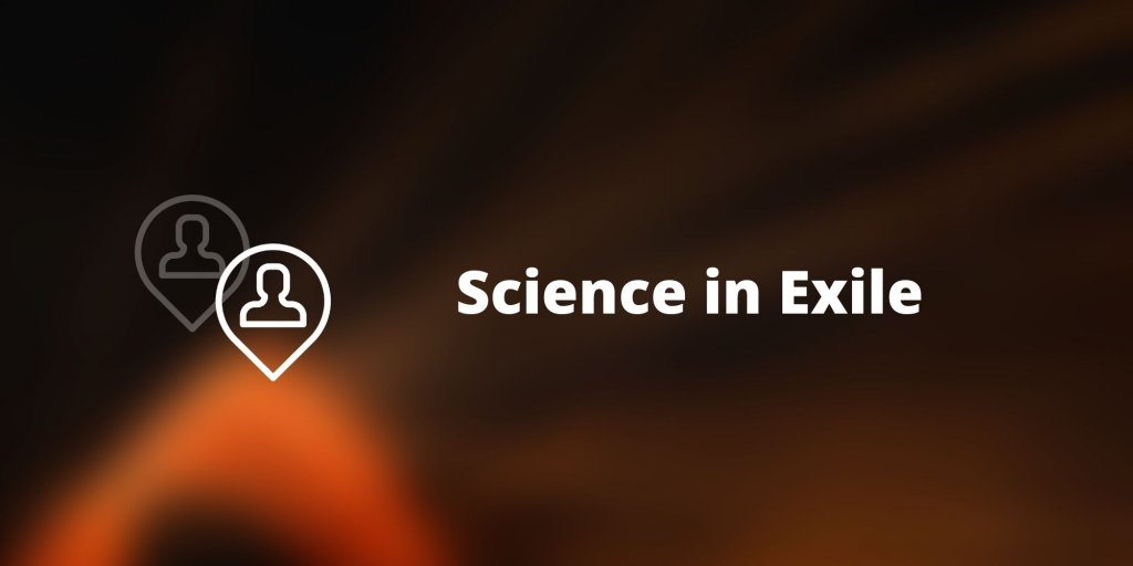 """Image with text """"Science in exile"""""""