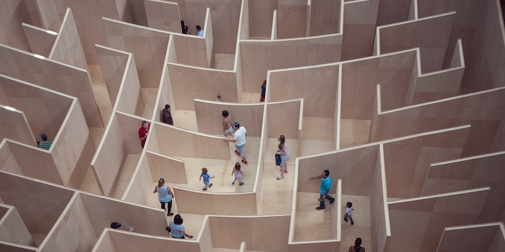 a labyrinth with people