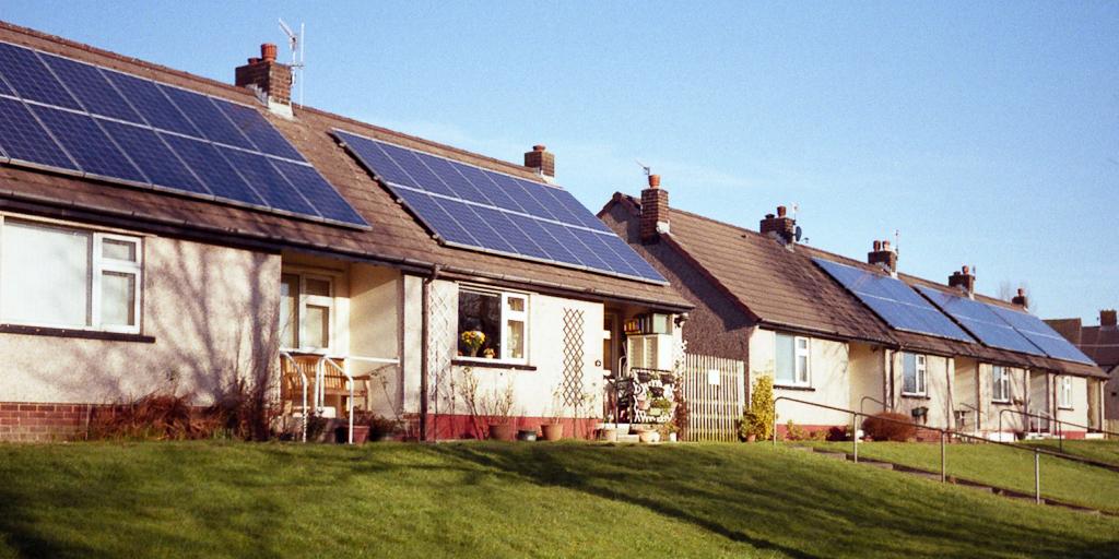 Solar panels on houses in Colne, UK
