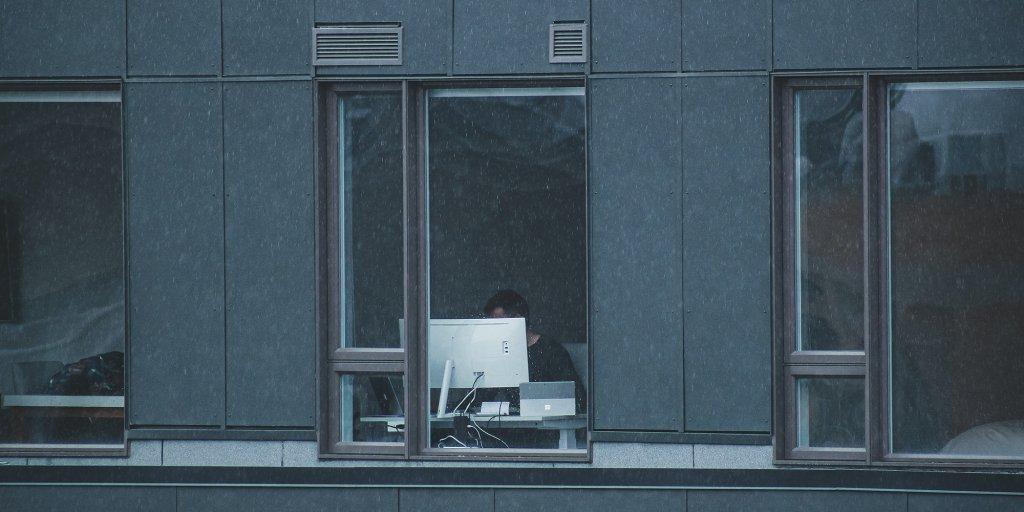 Remote worker through window