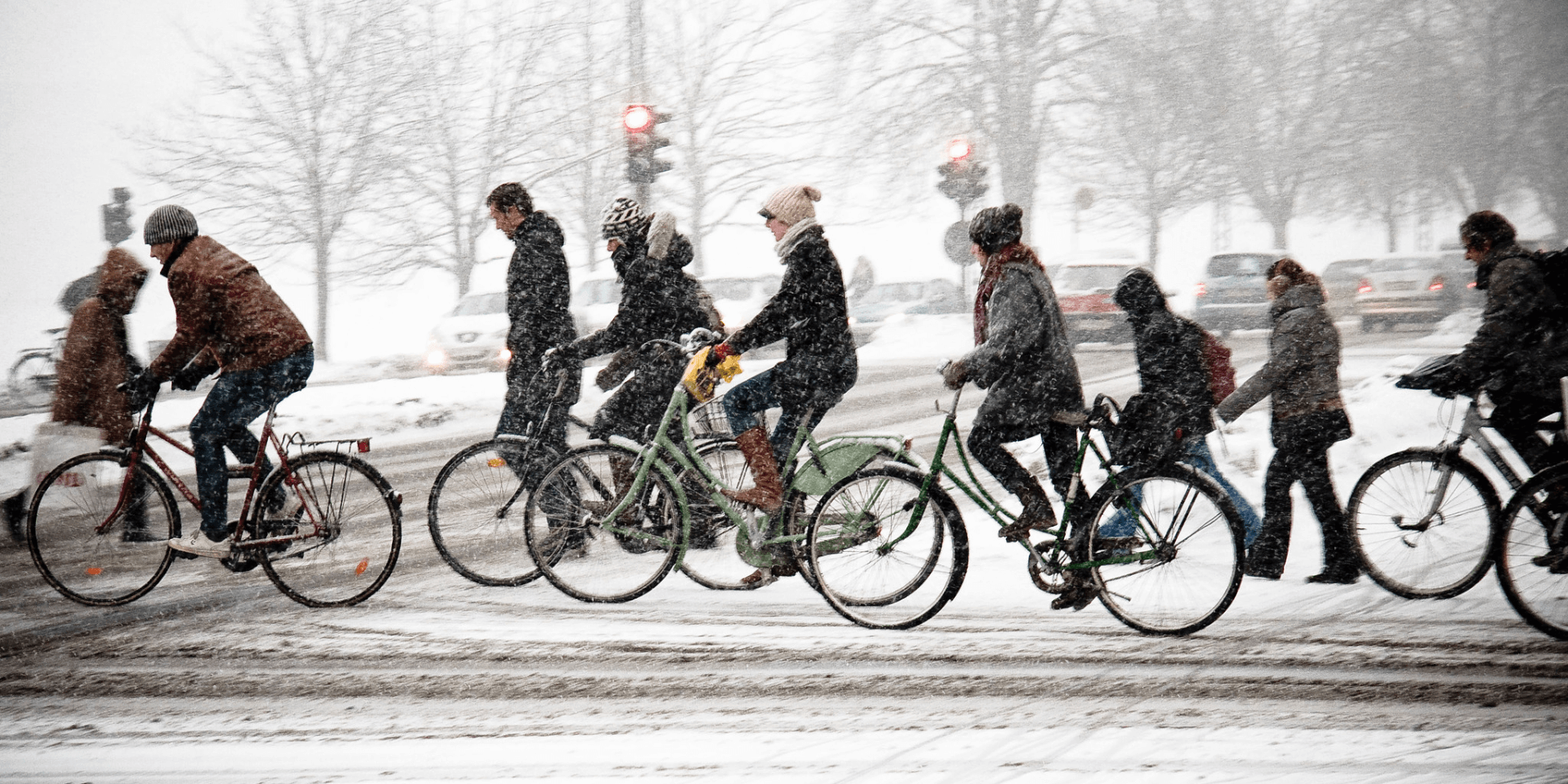Cycling in the snow, Copenhagen