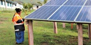 Inspecting solar panels in Fiji