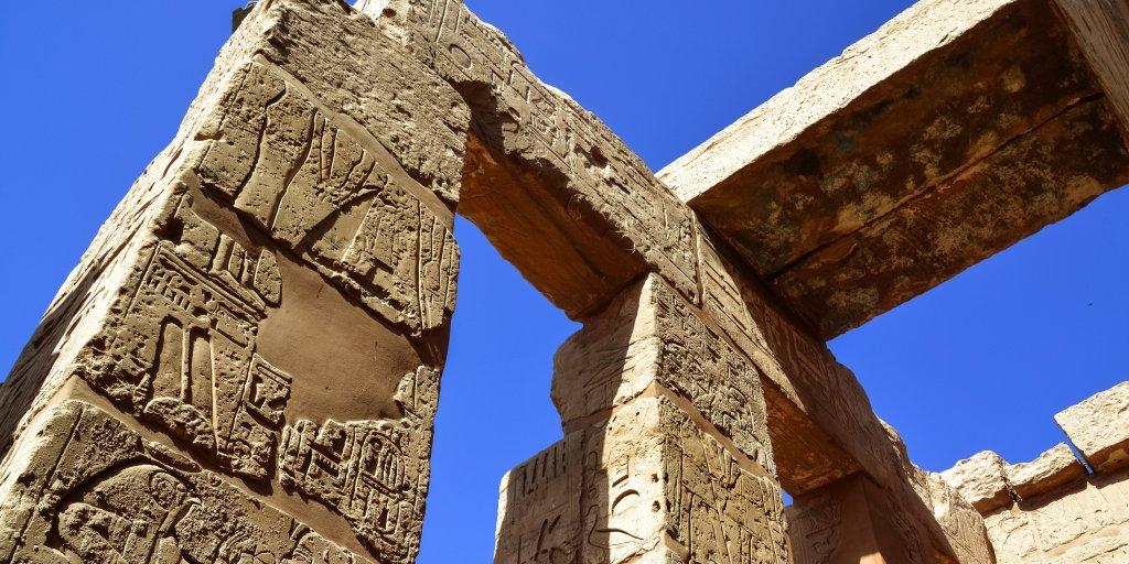 hieroglyphics and blue sky